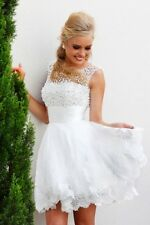 Short White/Ivory Cocktail Dresses Elegant Pearls Party Gown Prom/Eveing Dress