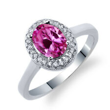 2.01 Ct Oval Pink Created Sapphire 925 Sterling Silver Ring