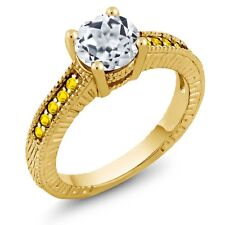 1.90 Ct Round White Topaz Yellow Sapphire 18K Yellow Gold Plated Silver Ring