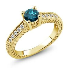 0.65 Ct Round Blue Diamond White Sapphire 925 Yellow Gold Plated Silver Ring