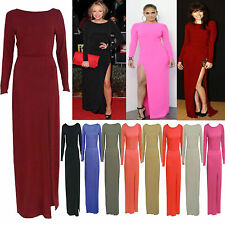 LADIES WOMEN LONG SLEEVE CELEB STYLE SPLIT FRONT BODYCON LONG MAXI DRESS SKIRT
