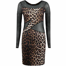 Women's Leopard Print Lace Long Sleeve Sexy Clubwear Party Cocktail Mini Dress