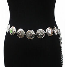 New Women Fashion Full Metal Chain Gold Silver Circle Waist Hip Wide Belt S~XL
