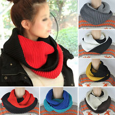 Women Men Winter Warm Infinity 2 Circle Cable Knit Cowl Neck Long Scarf Shawl