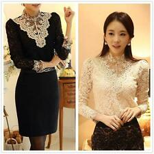 Women Embroidery Lace Long Sleeve Sheer Tops Turtle Neck Bead Basic Blouse Shirt