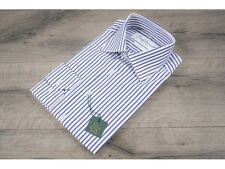 Ede & Ravenscroft £89 Blue Stripe Slim Fit Shirt Mother Of Pearl Buttons