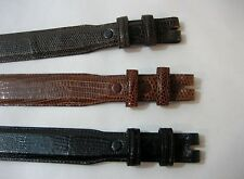 "Genuine lizard belt size's 26 to 46. 1-1/4 tapered to 1"", for 1"" buckle, U.S.A."