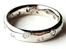 Scattered Diamond Look Sterling Silver Wedding/Engagement/Eternity Ring/band UK
