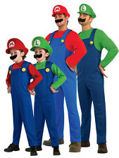 2014 Adult Kids Super Mario Luigi Bros Fancy Dress Plumber Game Costume New