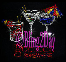 It's 5 O'CLOCK somewhere - Rhinestone Iron on Transfer Hot Fix Bling Happy Hour