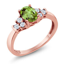 0.74 Ct Oval Green Peridot White Topaz 925 Rose Gold Plated Silver Ring