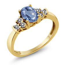 0.75 Ct Oval Blue Sapphire White Diamond 925 Yellow Gold Plated Silver Ring