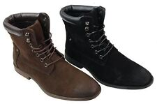 Mens Black Brown Ankle High Army Military Punk Rock Casual Boots Suede Vintage