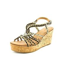 Nicole Across Womens Leather Wedge Sandals Shoes No Box