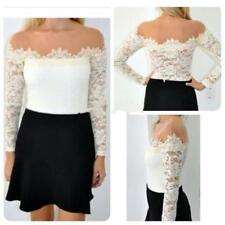 Women Floral Lace Crochet Blouse Top Sexy Off Shoulder Long Sleeve T Shirt -JJ