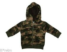 Baby Boys Camouflage Fleece Jacket with Hood Army Military Green Print - NEW