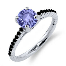1.12 Ct Round Blue Tanzanite Black Diamond 925 Sterling Silver Ring