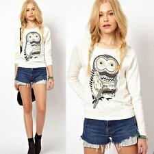 New Women Owl Print Beaded Long Sleeve Sweatshirt Crewneck T shirt Pullover Tops