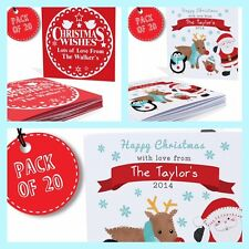 PERSONALISED CHRISTMAS CARDS PACK of 20 - Family or Childrens - Any name