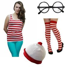 New Ladies Women's Red White Striped Fancy Dress Outfit Vest Hat Glasses Socks
