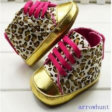 Lovely Nettes Kind Baby Lace Up Leopard-Gold Krippe Schuhe Sneaker Wandern