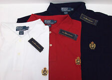 Polo Ralph Lauren Mesh SS Shirt $98 Polo Heritage Crown Crest White Red Blue NWT