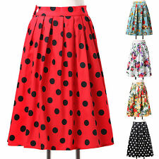 7Patterns Women's Vintage Smooth Cotton 50s Housewife Dance Skirt Dress IN XS~XL