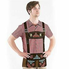 FAUX REAL MENS OKTOBERFEST BEER GERMANY LEDERHOSEN COSTUME T TEE SHIRT S-2XL