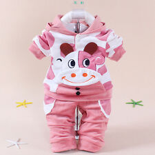 New Kids Baby Toddler Velvet Cow Cattle Calf Hoodie+Pants Two-pieces Outfits Set