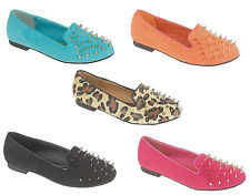 WOMENS SPIKE STUDDED FLAT BALLET DOLLY PUMPS SHOES LADIES UK SIZE 3 - 8