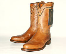 Mad Dog Goat Leather Roper $359 Lucchese Men's T0121 Tan Burnished  Western Boot