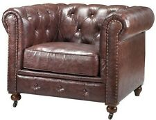 English Restoration Chesterfield Tufted Leather Chair Industrial Hardware SALE!