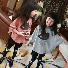 1425 Gilrs Cotton Kids Bat Sleeve T-Shirt Tops Free SHipping