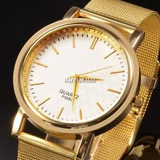 Hot Unisex Elegant Golden Net Dial Quartz Hours Clock Bracelet Wrist Watch HD