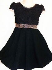 GIRLS 50s STYLE BLACK LACE SPARKLE TRIM WINTER KNIT PARTY DRESS