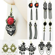Retro Handmade Rose Pearl Tassels Gothic Chic Lace Dangle Drop Earrings ST296