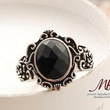 Vintage Carved Flower Big Gem Stone Ring Witch Mirror Crystal Luxury Finger Ring