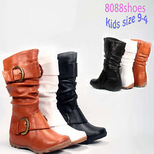 Youth Girls Kid's Causal Cute Flat Heel Buckle Zipper Boot Shoes Size 9 - 4 NEW