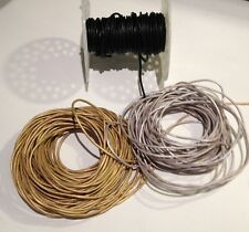Genuine Leather 2mm Round Cord - Black, Silver, Gold - BY THE YARD