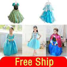 Girl's Frozen Princess Anna Elsa Cosplay Costume Kid's Party Dress+Cloak SZ3-8Y