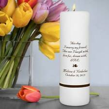 Personalized Printed Wedding Ceremony Unity Pillar Candle