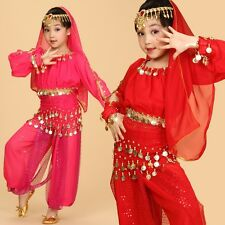 Kids Girls Belly Dance Costume Outfit Top Pants Bollywood Halloween Indian Dance