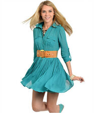 New Juniors Western Pleated Belted Empire Semi Sheer Flair Shirt Dress S-M-L