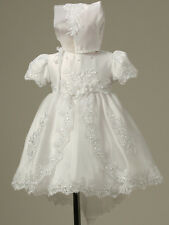 Baby Infant Christening Baptism gowns Flower Girl Dress Bonnet Free Outfit S-XL