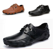 Winter Men's Faux Leather Lace Up Low Heel Skidproof Casual Shoes Driving Shoes