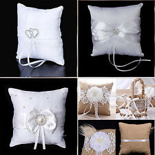 Wedding Party Heart Diamante Ring Pillow Cushion Crystal Flower Girl Basket