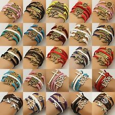 NEW fashion Jewelry Leather Cute Infinity Charm Bracelet Silver pick Lots Style