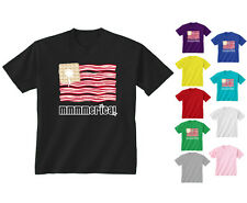 Kids Childrens Mmmmerica America Bacon Waffles USA Foodie Flag T-shirt Age 5-13