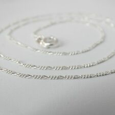 "Sterling Silver FIGARO Chain Necklace 1 mm 925 Italy 16"", 18"", 20"", 24"" Figuro"