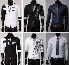 2014 Men's Luxury Casual Stylish Slim Fit Dress Long Sleeve Shirts Tops T-Shirt